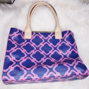 Kate Landry Tote Chain Link Blue Pink
